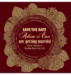 Wedding invitation vintage style vector image vector image