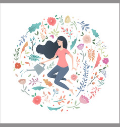 young woman in a circle of flowers with a garden vector image vector image
