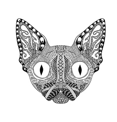 Zentangle stylized Face of Black Cat Hand Drawn vector image vector image