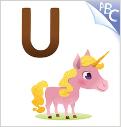Animal alphabet for the kids U for the Unicorn vector image vector image