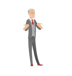 confused caucasian businessman shrugging shoulders vector image