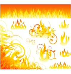 fire flames symbol vector image vector image