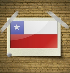 Flags Chile at frame on a brick background vector image vector image