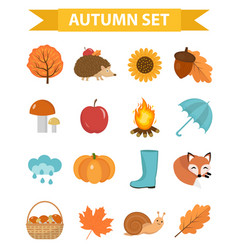 autumn icons set flat or cartoon stylecollection vector image