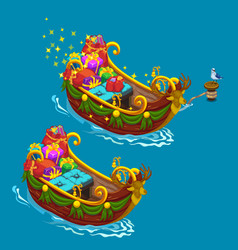 festively decorated boat with christmas presents vector image vector image
