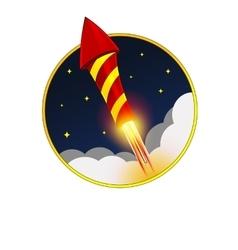 Firework Rocket Flying in Sky vector image
