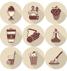 Flat round icons for tasty food vector image