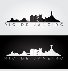 rio de janeiro skyline and landmarks silhouette vector image
