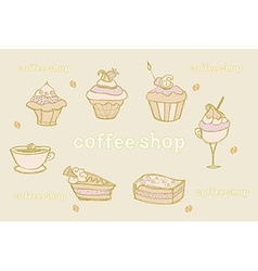 sweet dessert set background vector image vector image