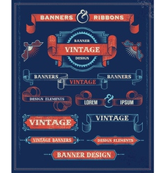 Vintage Banners and Ribbon Design Elements vector image vector image