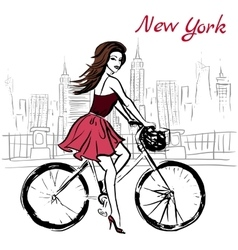 woman on bicycle vector image