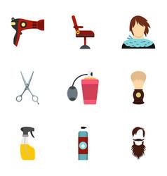 barbershop icons set flat style vector image