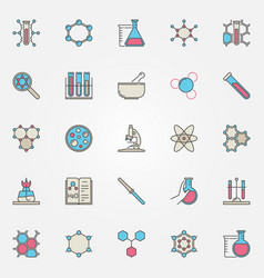 Colorful chemistry icons vector