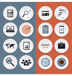 flat icons of business workflow items and elements vector image vector image