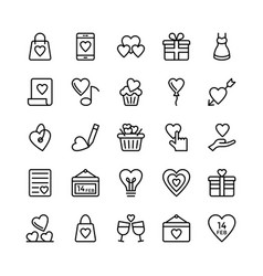 love and valentine line icons 4 vector image vector image