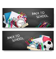 Two horizontal banners with school supplies vector image vector image