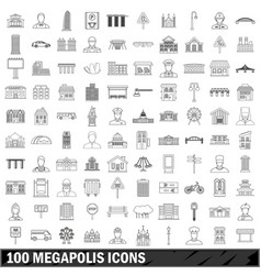 100 megapolis icons set outline style vector