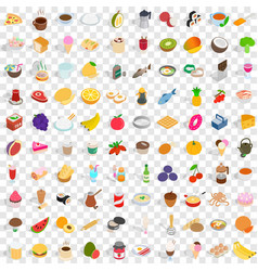 100 tasty icons set isometric 3d style vector