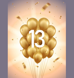 13th year anniversary background vector