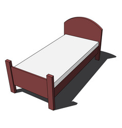 3d image - colored isolated bed with mattress vector image