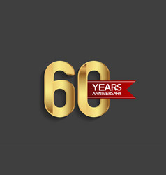 60 years anniversary simple design with golden vector