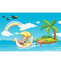 a girl in a boat vector image