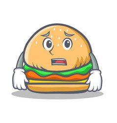 afraid burger character fast food vector image
