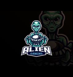 alien mascot sport logo design vector image