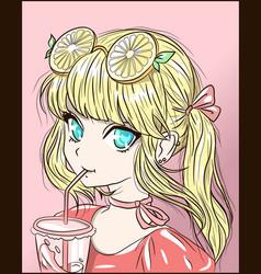 Anime blonde girl with orange lemon-lime sunglass vector