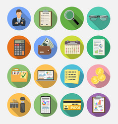 auditing tax accounting flat icons set vector image