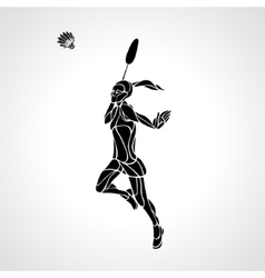 Badminton player female abstract silhouette vector