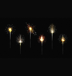 bengal fire set sparkler lights for party vector image