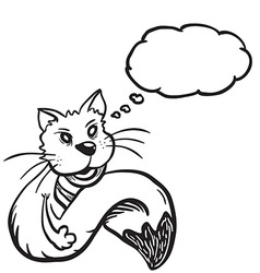 Black and white cat with speech bubbleeps vector