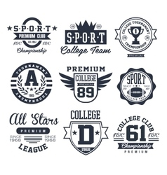 Black and White Sport Emblems Logos vector