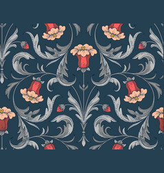 blue bellflowers pattern vector image