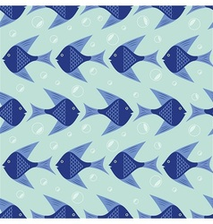 Blue Fish pattern vector image