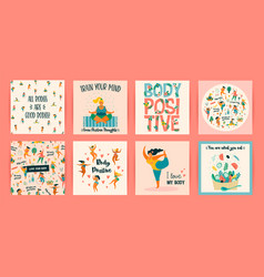 Body positive templates happy plus size vector