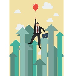 Businessman flying with red balloon against vector
