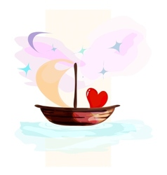 Card with hearts floating on a boat vector