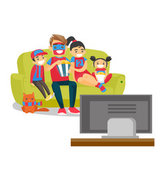 caucasian family watching football match on tv vector image