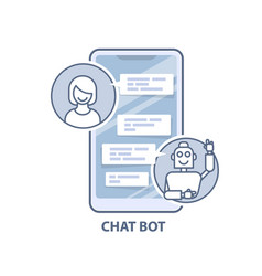 chatbot helper - chatting with robot virtual vector image