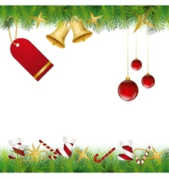 Christmas Card Ornament hanging on the tree vector image