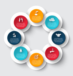 Circle infographic with 8 options or parts vector