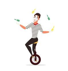 Circus juggler flat isolated vector