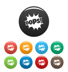 Comic boom oops icons set color vector