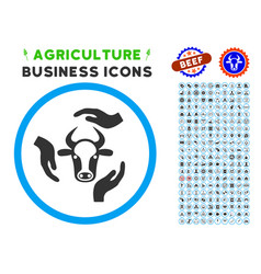 cow care hands rounded icon with set vector image