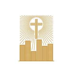 Cross of jesus christ over the city vector