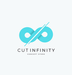 cut infinity abstract sign emblem or logo vector image