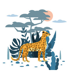 cute leopard plant and tree background graphic vector image