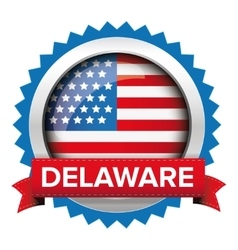 Delaware and USA flag badge vector image